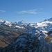 Von links Zinalrothorn, Garde de Bordon, Ober Gabelhorn, Grand Cornier und Dent Blanche. Im Vordergrund Sex de Marinda