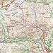 Meine Route (rot) zum Masnerkopf (2828m) und Hexenkopf (3035m). Grün eingezeichnet sind die markierten Bergwanderwege.