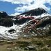 Unsere Abstiegsroute (durchgezogene Linie) und die vermutete leichteste Route im Sommer (gepunktet)