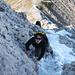 schnee und eis im Abstieg zum altmannsattel