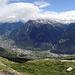 Doch noch so was wie ein Panorama vom Bättchritzji. Insbesondere der Tiefblick nach Brig und Naters sind beeindruckend