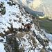 Simon im Aufstieg zum Sattel (Schwiren) in der Nordflanke des Oberbauenstock
