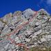 Route im unteren Teil der Druesberg Südkante