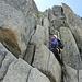 Bergsteigerin am Einstieg Schildchrötligrat