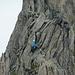 Bergsteigerin am Schildchrötligrat