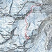 Route Fluchthorn  Kartenmaterial von map.geo.admin (Route ergänzt); Route kann sich ändern und ist auf Karte nur ansatzweise dargestellt (Karte entspricht ca. einer Verkleinerung von 1:20'000).