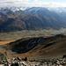 Notre route de descente vu du sommet: tout droit en bas sur la crête à droite de la photo.