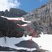 Meine Abstiegsroute durch den Aufschwung oberhalb Schlittchuechen. Aufgestiegen bin ich etwas links dieser Route, primär über Fels.