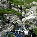 Dépôt des vélos, l'arête est visible tout en haut, yapluka...