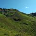 Um auf die Fuggfurggle zu kommen, habe ich mich hier links gehalten und dann auf ca.4/5 Höhe nach rechts zum Grat traversiert. Der Hang ist vollgewachsen mit Alpenrosen, die zwar wunderschön, aber im konkreten Fall auch etwas hinderlich sind.