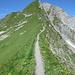 kurze Passage am Grat vor dem letzten Aufstieg