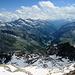 Blick von der Quintinio Sella Hütte 3585 m ins Val de Gressoney