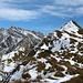 Links der Säntis und rechts der Gipfel des Lütispitz 1987m