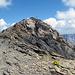 Der Gipfel, mit Blümchen und Kreuz.