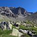 Das Ziel grob im Visier. Der Marsch durch das Tal (um die Erhöhung rechts herum) hinauf zur Fuorcla Albana geht ganz schön in die Fussgelenke.