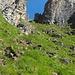 Das Aufstiegscouloir zur Kante unterhalb des Gipfels. Kabeln sichern der Auf- und Abstieg