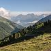 Bei Grüobu Oberstafel, Blick aus dem Turtmanntal hinaus.