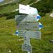 Wegweiser am Saulajoch - hier zweigt der Normalanstieg auf den Saulakopf ab (I) - zum Klettersteig gehts noch 'ne Weile nach rechts (ostwärts).