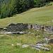 Äntschi: alte Hütte und  frisch gemähte Wiese