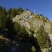 Der Gipfelbereich des Burberger Hörnle ist felsdurchsetzt. Auch auf dem Weg nimmt Wandersmann mal die Hand zur Unterstützung