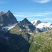 Sustenhorn, Chli Sustenhorn, Sustenspitz, Firnkuppe Gwächtenhorn, Hinter Tierberg, Mittler Tierberg und knapp noch sichtbar Vorder Tierberg