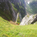Aufstieg/Abstieg über die Borsthalden (Meglisalp) Orange ist nicht zu empfehlen. Couloir mit vielen losen Steinen (Klettern II). Rot die gängigere Variante über Grasplanken.