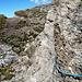 Il passaggio attrezzato, dal Colle Palasina verso cima, sul sentiero 3D .