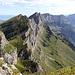 """Blickt man vom Schären ostwärts sieht man die """"echten"""" Churfirsten in der Projektion, den Alpstein mit Obertoggenburg links und die Alvierkette mit Walensee rechts davon."""