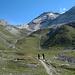 in der Triftchumme geht der Blick hinauf zum Platthorn und Furggji (beide Bildmitte)