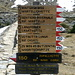 Wegweiser am Schutzdamm oberhalb der Zufallhütte
