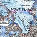 Karte vom Gipfelbereich des Mont Blanc (4810,45m) mit dem markierten Landeshöhepunkt Italiens.