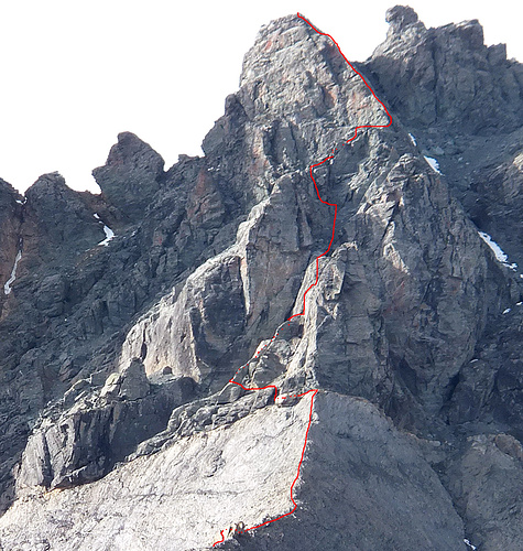 Aufstiegsroute über den Mittelgrat