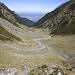 Das Tal des Ucea Mare-Bachs nach etwa einer Stunde Abstieg.