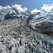 Gigantische Gletscherströme. Einige Meter tiefer biwakierten die Erstbegeher des Mont Blanc vor der Gipfeltag am 07.08.1786.
