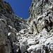 Es sah vielversprechend aus; Diverse Kletterstellen mussten überwunden werden, alles ziemlich bröselig, aber insgesamt gut machbar.