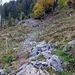 Auf einer Höhe von 1180m geht es einer guten Wegspur entlang südostwärts Richtung Plangg.