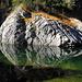 """Der """"schwimmende Felsen"""" mit seinem Spiegelbild."""