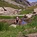 Fioritura di eriofori e .... folletti sul laghetto a 2206m. della Randinascia