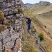 Heikelste Stelle im Abstieg vom Maschgenkamm gegen Osten. Tritte und Griffe nicht überalle Zweifel erhaben.