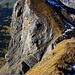 Rückblick auf den Chli Alvier (2283m) beim Aufstieg über den Alvier Nordwestgrat der zu dessen Vorgipfel P.2335m führt.