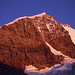 Die purpurfarbene Westwand des Piz Bernina (4049m) bei Sonnenuntergang, Tschierva-Hütte.