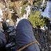 Blick vom 2. Stand: rechts unten der schneebedeckte Wanderweg, rechts vom rechten Knie der Legföhrengrat, oberhalb des rechten Knies die Spitze des kleineren Turms