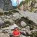 Erwin sul tracciato lungo il torrente Montanaia