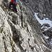 Kurze Traverse unterhalb des Steilaufschwungs