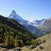 Blick auf Findeln mit Matterhorn