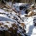 Zweite Seillänge des Bayerwald Eisfalls. An ihrem Ende kommt die WI 3 Stufe (10 m) gefolgt von dern WI 2 Stufe (5 m).